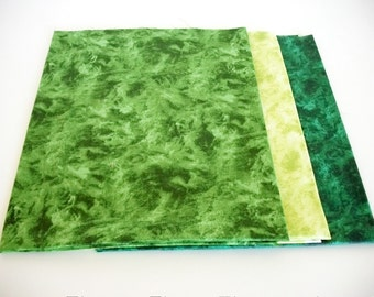 Fat Quarter Fabrics Bundle, 3 Choice Fabrics, The Gallery Collection, Quilting Sewing Fabric, Green, Accent Fabrics, Cotton