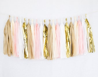 Tissue Paper Tassel Party Garland (20 Tassels Per Package) 14 Inch Long Tassels (Pink-White-Ivory-Tan-Gold Mylar)