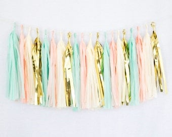Tissue Paper Tassel Party Garland (20 Tassels Per Package) - 14 Inch Long Tassels (Mint-Peach-Ivory-Gold Mylar)