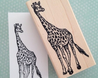 Giraffe Wood Mounted Rubber Stamp 3173