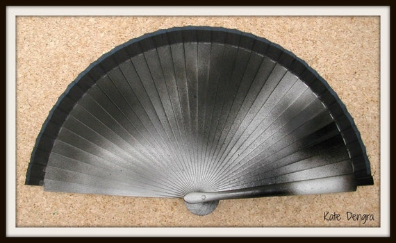 Black Hand Fan SIZE OPTIONS with Silver Black Gloss and Matt Paint Hand Held Folding Fan From Spain MTO