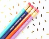 New Fall 2015 Hexagon Pencil Set of 4, Engraved Pencils, Pencil Shavings Studio, Back to School, Hex Pencils, Personalized, Custom