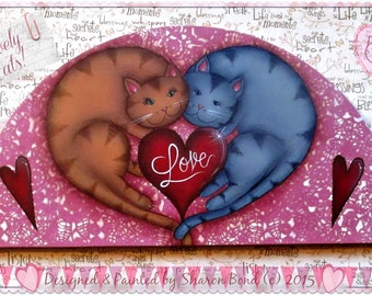 E-PATTERN - Lovely Cats! Two sweet cats in the shape of a heart! Calling all Cat Lovers! Designed & Painted by Sharon Bond
