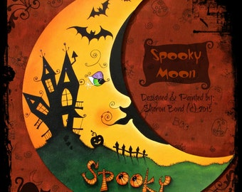 E PATTERN - Spooky Moon!! Halloween Moon with Spooky Silhouettes ~ Haunted House, Bats! Designed & Painted by Sharon Bond - FAAP