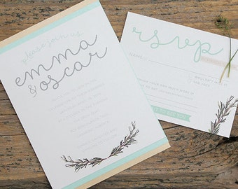Vintage Rosemary Wedding Invitation Suite Card Organic Natural Garden Simple Invite RSVP Suite