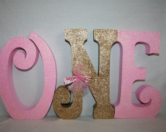 1st birthday centerpiece First birthday photo prop pink wood letters
