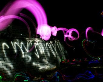 Go Big - Light Graffiti Canvas Print - Ltd Edition of 25 -  Long Exposure Light Art Photography. Big Colour Pink