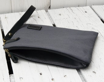 Unisex Personalized Clutch, Zipper Monogrammed Wristlet, Christmas Gift for Men, Charcoal Gray Wallet, Canvas Pouch for Husband, Custom Bag