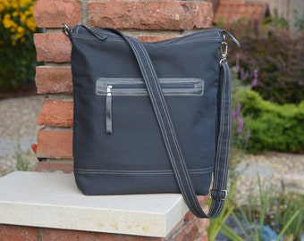 Grey diaper bag, Zipper Messenger Cross Body, charcoal grey canvas shoulder bag, unique gift for college students, Laptop carrier