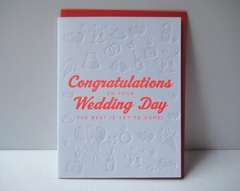 Congratulation - Wedding Day - letterpress card - letterpress wedding - fun - balloons - champagne - typography - illustration - modern