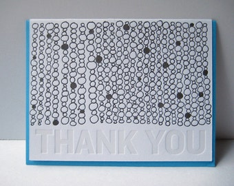 Letterpress Thank You Card - Thank You - hand drawn - Thank you notecard - circles - pattern - gratitude - subtle - typography - black