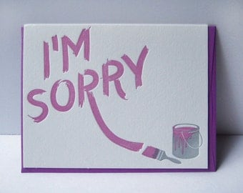 I'm Sorry - Apology - Letterpress Card - Paint - Graffitti - Art - heather purple - handdrawn - typography - texture - sorry card