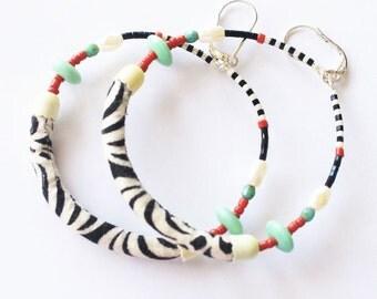 Hoop earrings, Fabric earrings, Textile earrings, Textile jewelry, Fiber art jewelry, Tribal earrings