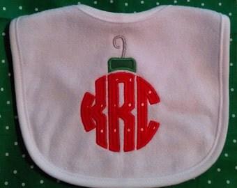 Baby Christmas Bib with Initials, personalized bib, holiday bib, Christmas bib