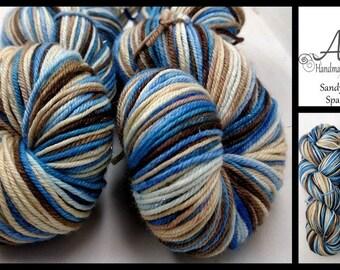Sandy Beaches Sparkle DK Merino Silk Stellina 3.5oz 100g 231yd Blue Brown