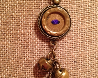 Antique Brass Button Assemblage Pendant