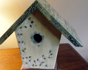Large Wooden Birdhouse Handpainited //Gift Ideas// One of a Kind Home Decor