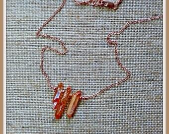 As Seen On The Vampire Diaries (season 7, episode 2) worn by Bonnie ~ Mystic Orange Titanium Quartz Necklace