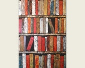 "Large Abstract Poster Print 24"" x 36"" Spicy Books Wall Art - Instant bookshelf"