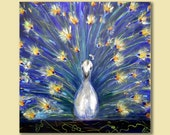 Large White Peacock Art Print 30x30 Gallery Wrapped High Impact Wall Art