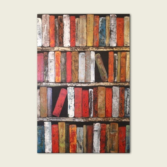 """Large Abstract Painting Print 24"""" x 36"""" Spicy Books Wall Art - Instant bookshelf"""