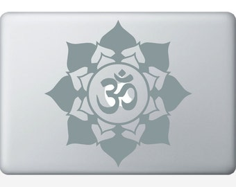 Flower Om  laptop DECAL- macbook iPad computer- vinyl sticker - Sacred Geometry - Rainbow Holographic