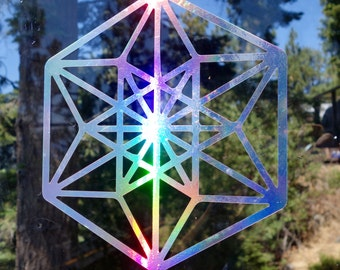 Cubed Vinyl Decal | Laptop or Wall | Mandala Sacred Geometry | Geometric Yoga | Rainbow Holographic Sticker