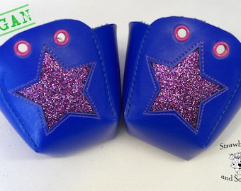 VEGAN leather Roller Derby skate toe guards with glitter Stars