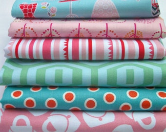DESTASH-Cotton Designer fabric pack-6 fat quarters-Fashion Plate- Amy Butler, Barbara Jones, Riley Blake