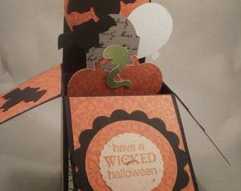 Exploding Box Halloween Card, Halloween Pop Up Card, Handmade Halloween Card, Exploding Box, Bats, Wicked