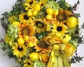 Fall Wreath, Lemon Wreath, Thanksgiving Wreath, Sunflower Wreath, Halloween Wreath, Christmas Wreath, Autumn Wreath