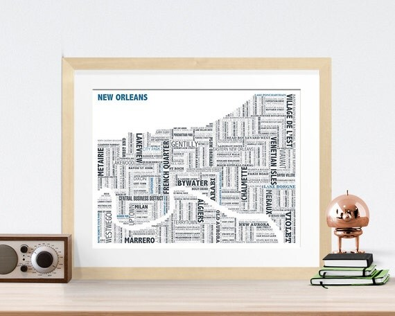 New Orleans Typography Map 8x10 Print