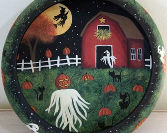 Halloween Hand Painted Wood Bowl,  Primitive Folk Art Scarecrow in Pumpkin Field, Red Barn, witch, black cats, jack-o-lanterns MADE TO ORDER