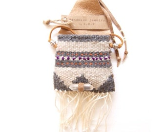 PN-05, One of a kind handmade/woven/stitched/sawn pouch necklace