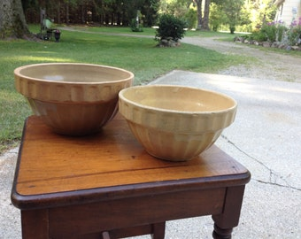 Pair Of Primitive Stoneware Bowls