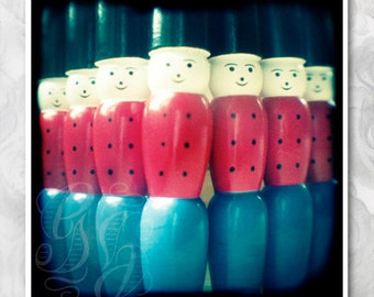 Red, white and blue Soldiers: signed art ttv photograph of wooden toy soldier skittles. Boys room decor and nursery wall art.