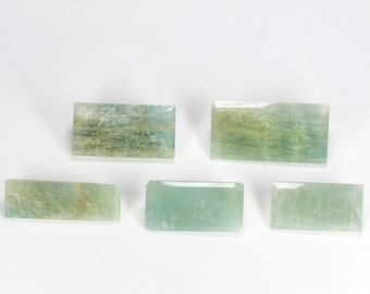 Natural Aquamarine Faceted Crystal Lot 307.85 Carats 5 Piece Large Faceted Rectangles