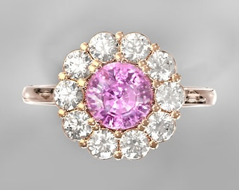 Pink Sapphire ring inlaid with 0.6 carat white sapphires 14k gold ring CERTIFIED  1.69 carat  SKU clusters2159Pink