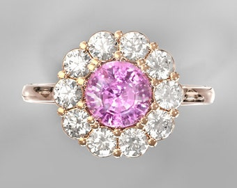 Pink Sapphire ring inlaid with 0.6 carat white sapphires 14k gold ring CERTIFIED  1.65 carat  SKU clusters2159Pink