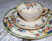 Vintage Hampton Ivory Surrey English China Set - 9 place settings and matching tea pot