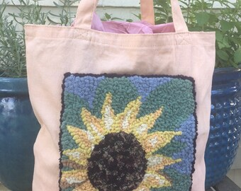 SALE Hand Hooked Rug Tote Bag - Bright Sunflower