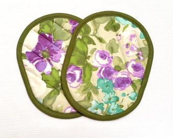 Quilted Pot Holders Green, Purple and Teal Floral--Ready to Ship