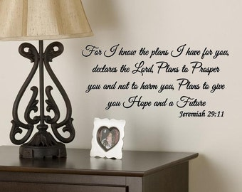 Wall Decal For I know the plans I have for you Jeremiah 29:11 Bible Verse Scripture Vinyl Lettering
