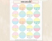 20 Floral & Dots Pattern Cute Circle Planner Stickers, Calendar Sticker, Planner Accessories, Erin Condren, Filofax, Project Life