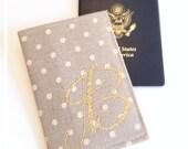 Linen Passport Cover Gold Glitter Monogram Glam Wedding Bridesmaids Maid of Honor Gift International Travel Wallet Cruise Passport Holder