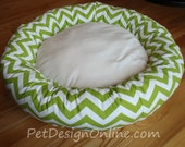 "READY - to - SHIP -- 30"" Dog Bed - Green & White Zig Zag, Chevron with Soft Minky Fleece - Removable Cover"