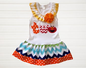 Elmo Dress Chevron Dress Birthday Theme Dress