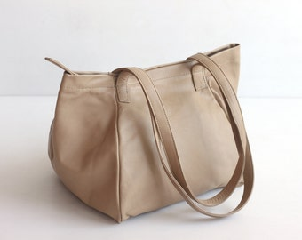 PANDORA Small Leather Handbag. Leather Shoulder Bag. Nude Lambskin Leather. Womens Zipper Bucket Tote Bag. Zip Bag. Leather Bucket Bag