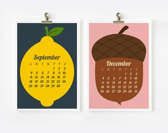 SALE 2016 Calendar Retro Fruit and Vegetable Calendar, Kitchen decor, Christmas Gift , New Year Gift,  4 x 6 or 5 x 7
