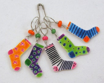 crazy socks stitch markers, snag free, colorful knitting accessory, fun gift for knitters, optional gift wrap